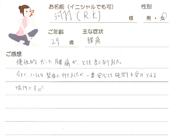 R.Kさん 29歳 女性