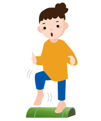 夏バテ予防にイイ汗をかく!青竹踏みをしている女性のイラスト